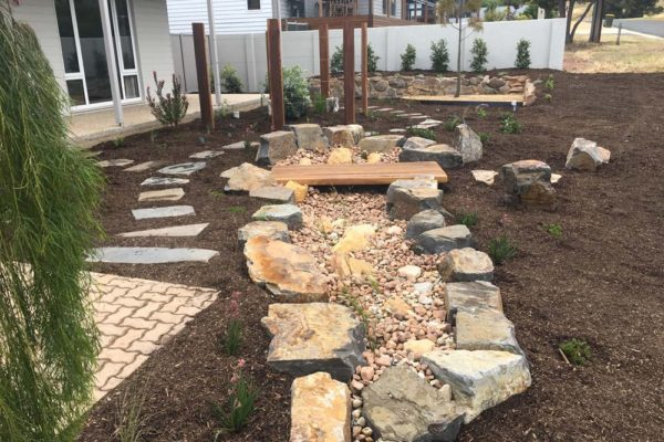 Dry creek bed alternate angle - Adelaide Landscaping - TGLandscapes