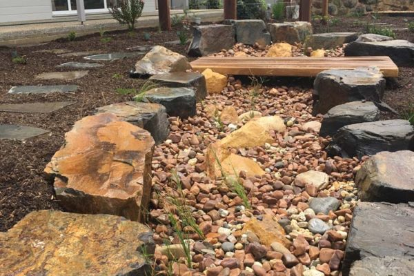 Dry creek bed in front garden - Adelaide Landscaping - TGLandscapes